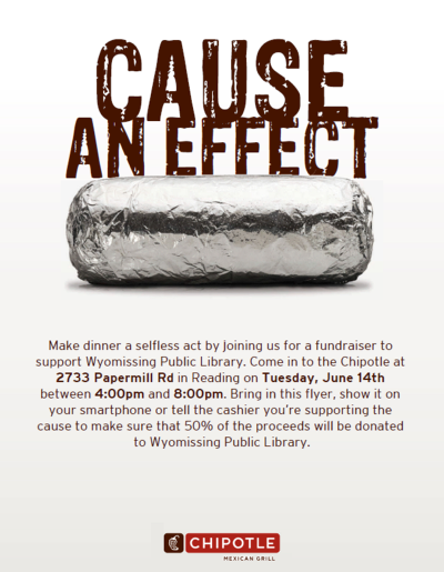 Chipotle Fundraiser Wyomissing Public Library